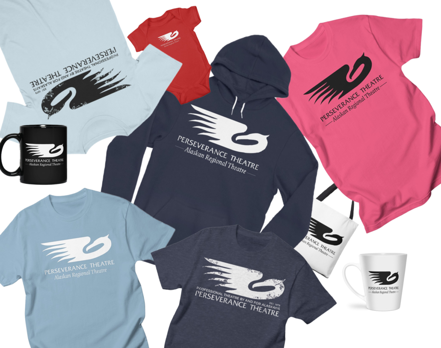 Perseverance Theatre Merchandise including mugs, tshirts, and hoodies